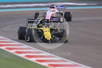 World © Octane Photographic Ltd. Formula 1 – Abu Dhabi GP - Race. Renault Sport F1 Team RS19 – Nico Hulkenberg and SportPesa Racing Point RP19 - Sergio Perez. Yas Marina Circuit, Abu Dhabi, UAE. Sunday 1st December 2019.