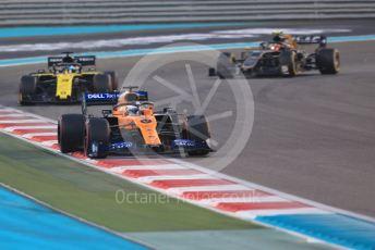 World © Octane Photographic Ltd. Formula 1 – Abu Dhabi GP - Race. McLaren MCL34 – Carlos Sainz, Renault Sport F1 Team RS19 – Daniel Ricciardo and Haas F1 Team VF19 – Kevin Magnussen. Yas Marina Circuit, Abu Dhabi, UAE. Sunday 1st December 2019.