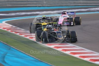 World © Octane Photographic Ltd. Formula 1 – Abu Dhabi GP - Race. Haas F1 Team VF19 – Kevin Magnussen, Renault Sport F1 Team RS19 – Nico Hulkenberg and SportPesa Racing Point RP19 - Sergio Perez. Yas Marina Circuit, Abu Dhabi, UAE. Sunday 1st December 2019.