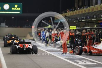 World © Octane Photographic Ltd. FIA Formula 2 (F2) – Abu Dhabi GP - Race 1. The pack heads out of the pitlane to the grid. Yas Marina Circuit, Abu Dhabi, UAE. Saturday 30th November 2019.