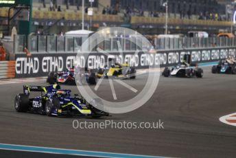 World © Octane Photographic Ltd. FIA Formula 2 (F2) – Abu Dhabi GP - Race 1. Carlin - Louis Deletraz on the green flag lap. Yas Marina Circuit, Abu Dhabi, UAE. Saturday 30th November 2019.