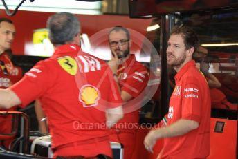 World © Octane Photographic Ltd. Formula 1 – Abu Dhabi GP - Pit Lane. Scuderia Ferrari SF90 – Sebastian Vettel. Yas Marina Circuit, Abu Dhabi, UAE. Sunday 1st December 2019.
