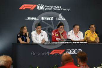 World © Octane Photographic Ltd. Formula 1 - Abu Dhabi GP - Friday FIA Team Press Conference. Mattia Binotto – Team Principal of Scuderia Ferrari, Zak Brown - Executive Director of McLaren Technology Group, Cyril Abiteboul - Managing Director of Renault Sport Racing Formula 1 Team, Toto Wolff - Executive Director & Head of Mercedes - Benz Motorsport and Claire Williams - Deputy Team Principal of ROKiT Williams Racing. Yas Marina Circuit, Abu Dhabi, UAE. Friday 29th November 2019.