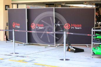 World © Octane Photographic Ltd. Formula 1 – Abu Dhabi Pirelli Tyre Test. Haas F1 Team VF19 garage. Yas Marina Circuit, Abu Dhabi, UAE. Tuesday 3rd December 2019.
