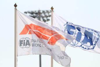 World © Octane Photographic Ltd. Formula 1 – Abu Dhabi GP - Paddock. FIA and F1 flags. Yas Marina Circuit, Abu Dhabi, UAE. Thursday 28th November 2019.