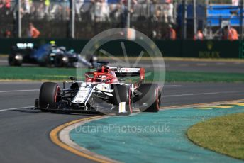 World © Octane Photographic Ltd. Formula 1 – Australian GP Practice 2. Alfa Romeo Racing C38 – Kimi Raikkonen and Mercedes AMG Petronas Motorsport AMG F1 W10 EQ Power+ - Valtteri Bottas. Friday 15th Melbourne, Australia. Friday 15th March 2019.