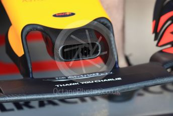 World © Octane Photographic Ltd. Formula 1 – Australian GP Practice 3. Aston Martin Red Bull Racing RB15 Thank You Charlie marking on nose for Charlie Whiting. Saturday 16th Melbourne, Australia. Saturday 16th March 2019.