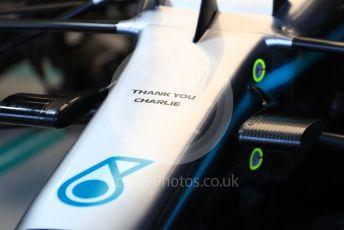 World © Octane Photographic Ltd. Formula 1 – Australian GP Practice 3. Mercedes AMG Petronas Motorsport AMG F1 W10 EQ Power+ Thank You Charlie marking on nose for Charlie Whiting. Saturday 16th Melbourne, Australia. Saturday 16th March 2019.