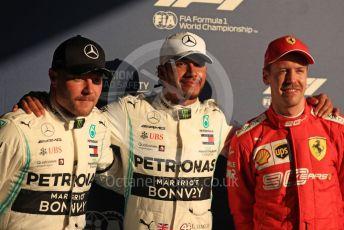 World © Octane Photographic Ltd. Formula 1 – Australian GP Qualifying. Mercedes AMG Petronas Motorsport AMG F1 W10 EQ Power+ - Lewis Hamilton, Valtteri Bottas and Scuderia Ferrari SF90 – Sebastian Vettel. Melbourne, Australia. Saturday 16th March 2019.