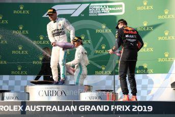 World © Octane Photographic Ltd. Formula 1 – Australian GP Podium. Mercedes AMG Petronas Motorsport AMG F1 W10 EQ Power+ - Valtteri Bottas and Lewis Hamilton and Aston Martin Red Bull Racing RB15 – Max Verstappen. Melbourne, Australia. Sunday 17th March 2019.