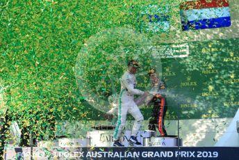 World © Octane Photographic Ltd. Formula 1 – Australian GP Podium. Mercedes AMG Petronas Motorsport AMG F1 W10 EQ Power+ - Valtteri Bottas and Aston Martin Red Bull Racing RB15 – Max Verstappen. Melbourne, Australia. Sunday 17th March 2019.