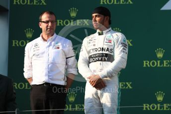 World © Octane Photographic Ltd. Formula 1 – Australian GP Podium. Mercedes AMG Petronas Motorsport AMG F1 W10 EQ Power+ - Lewis Hamilton. Melbourne, Australia. Sunday 17th March 2019.