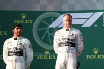 World © Octane Photographic Ltd. Formula 1 – Australian GP Podium. Mercedes AMG Petronas Motorsport AMG F1 W10 EQ Power+ - Valtteri Bottas and Lewis Hamilton. Melbourne, Australia. Sunday 17th March 2019.