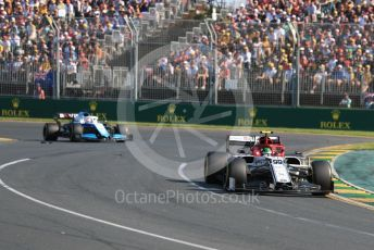 World © Octane Photographic Ltd. Formula 1 – Australian GP Race. Alfa Romeo Racing C38 – Antonio Giovinazzi and ROKiT Williams Racing FW42 – George Russell. Melbourne, Australia. Sunday 17th March 2019.