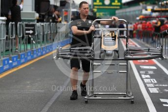 World © Octane Photographic Ltd. Formula 1 – Australian GP Pitlane. Rich Energy Haas F1 Team VF19 – Kevin Magnussen's front wing. Friday 15th Melbourne, Australia. Friday 15th March 2019.