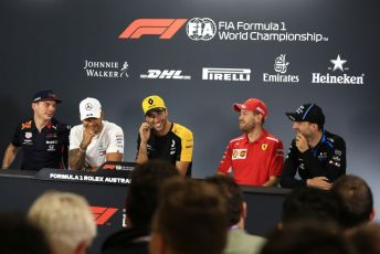 World © Octane Photographic Ltd. Formula 1 - Australian GP Thursday FIA Driver Press Conference. Mercedes AMG Petronas Motorsport AMG F1 W10 EQ Power+ - Lewis Hamilton, ROKiT Williams Racing – Robert Kubica, Renault Sport F1 Team RS19 – Daniel Ricciardo, Aston Martin Red Bull Racing RB15 – Max Verstappen and Scuderia Ferrari SF90 – Sebastian Vettel. Thursday 14th Melbourne, Australia. Thursday 14th March 2019.