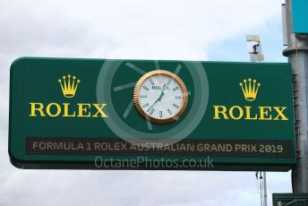 World © Octane Photographic Ltd. Formula 1 – Australian GP. Rolex Race clock. Albert Park, Melbourne, Australia. Wednesday 13th March 2019.