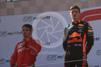 World © Octane Photographic Ltd. Formula 1 – Austrian GP - Podium. Aston Martin Red Bull Racing RB15 – Max Verstappen and Scuderia Ferrari SF90 – Charles Leclerc. Red Bull Ring, Spielberg, Styria, Austria. Sunday 30th June 2019