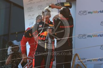 World © Octane Photographic Ltd. Formula 1 – Austrian GP - Podium. Aston Martin Red Bull Racing RB15 – Max Verstappen and Toyoharu Tanube - Honda Performance Development (HPD) Senior Manager. Red Bull Ring, Spielberg, Styria, Austria. Sunday 30th June 2019