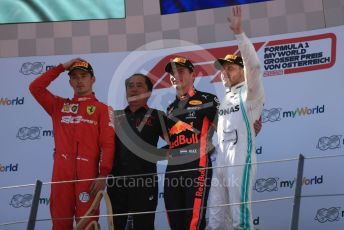 World © Octane Photographic Ltd. Formula 1 – Austrian GP - Podium. Aston Martin Red Bull Racing RB15 – Max Verstappen, Mercedes AMG Petronas Motorsport AMG F1 W10 EQ Power+ - Valtteri Bottas, Scuderia Ferrari SF90 – Charles Leclerc and Toyoharu Tanube - Honda Performance Development (HPD) Senior Manager. Red Bull Ring, Spielberg, Styria, Austria. Sunday 30th June 2019