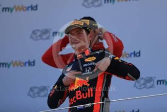 World © Octane Photographic Ltd. Formula 1 – Austrian GP - Podium. Aston Martin Red Bull Racing RB15 – Max Verstappen. Red Bull Ring, Spielberg, Styria, Austria. Sunday 30th June 2019