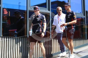World © Octane Photographic Ltd. Formula 1 – Austrian GP - Paddock. Aston Martin Red Bull Racing RB15 – Max Verstappen and Pierre Gasly. Red Bull Ring, Spielberg, Styria, Austria. Sunday 30th June 2019