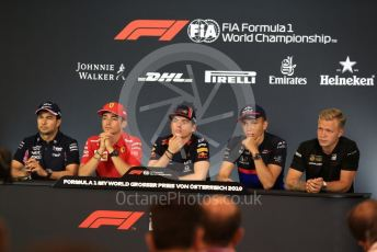 World © Octane Photographic Ltd. Formula 1 – Austrian GP - Paddock. FIA Drivers Press Conference. Scuderia Ferrari SF90 – Charles Leclerc, Rich Energy Haas F1 Team VF19 – Kevin Magnussen, SportPesa Racing Point RP19 - Sergio Perez, Aston Martin Red Bull Racing RB15 – Max Verstappen and Scuderia Toro Rosso STR14 – Alexander Albon. Red Bull Ring, Spielberg, Styria, Austria. Thursday 27th June 2019.