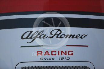 World © Octane Photographic Ltd. Formula 1 – Winter Testing - Test 1 - Day 1. Alfa Romeo Racing logo. Circuit de Barcelona-Catalunya. Monday 18th February 2019.