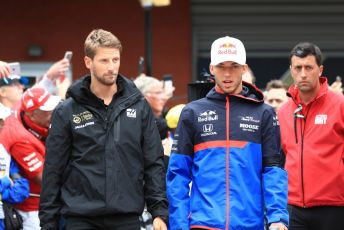 World © Octane Photographic Ltd. Formula 1 – Belgium GP - Drivers Parade. Rich Energy Haas F1 Team VF19 – Romain Grosjean and Scuderia Toro Rosso - Pierre Gasly. Circuit de Spa Francorchamps, Belgium. Sunday 1st September 2019.