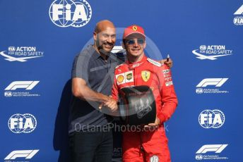 World © Octane Photographic Ltd. Formula 1 – Belgium GP - Qualifying. Scuderia Ferrari SF90 – Charles Leclerc receives the Pirelli Pole Position Award from the Pirelli Representative, actor Keegan-Micheal Key.  Circuit de Spa Francorchamps, Belgium. Saturday 31st August 2019.