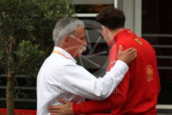 World © Octane Photographic Ltd. Formula 1 - Belgium GP - Paddock. Chase Carey - Chief Executive Officer of the Formula One Group and Mattia Binotto – Team Principal of Scuderia Ferrari. Circuit de Spa Francorchamps, Belgium. Sunday 1st September 2019.