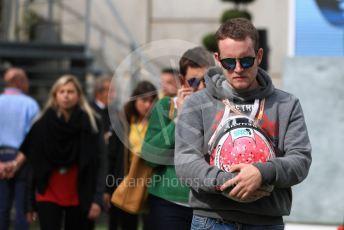 World © Octane Photographic Ltd. Formula 1 – Belgium GP - Paddock. Anthoine Hubert brother carrying his brothers helmet. Circuit de Spa Francorchamps, Belgium. Sunday 1st September 2019.