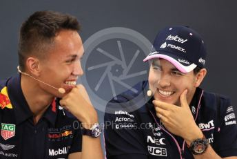 World © Octane Photographic Ltd. Formula 1 – Belgium GP. FIA Drivers Press Conference. Aston Martin Red Bull Racing – Alexander Albon and SportPesa Racing Point - Sergio Perez. Circuit de Spa Francorchamps, Belgium. Thursday 28th August 2019.