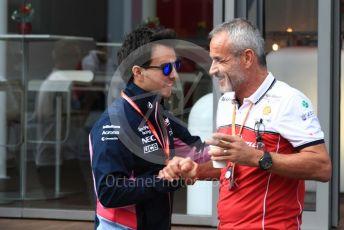 World © Octane Photographic Ltd. Formula 1 – Belgium GP - Paddock. SportPesa Racing Point RP19 - Sergio Perez and Beat Zehnder – Team Manager Alfa Romeo Racing. Circuit de Spa Francorchamps, Belgium. Thursday 28th August 2019.