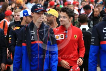 World © Octane Photographic Ltd. Formula 1 – British GP - Drivers Parade. Scuderia Toro Rosso STR14 – Daniil Kvyat and Scuderia Ferrari SF90 – Charles Leclerc. Silverstone Circuit, Towcester, Northamptonshire. Sunday 14th July 2019.