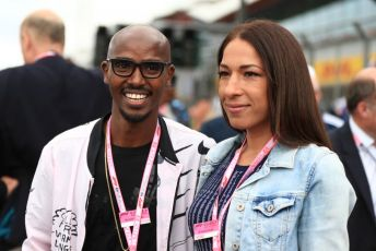 World © Octane Photographic Ltd. Formula 1 – British GP - Grid. Mo Farah and Tania Nell. Silverstone Circuit, Towcester, Northamptonshire. Sunday 14th July 2019