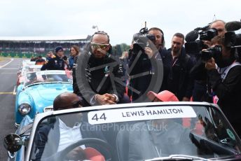 World © Octane Photographic Ltd. Formula 1 – British GP - Drivers Parade. Mercedes AMG Petronas Motorsport AMG F1 W10 EQ Power+ - Lewis Hamilton, Antony Hamilton and Nic Hamilton. Silverstone Circuit, Towcester, Northamptonshire. Sunday 14th July 2019.