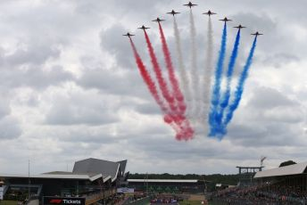 World © Octane Photographic Ltd. Formula 1 – British GP. Red Arrows fly over the Grid. Silverstone Circuit, Towcester, Northamptonshire. Sunday 14th July 2019