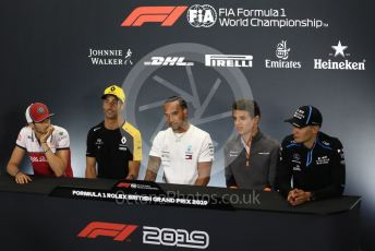 World © Octane Photographic Ltd. Formula 1 – British GP. FIA Drivers Press Conference. Alfa Romeo Racing C38 – Antonio Giovinazzi, Mercedes AMG Petronas Motorsport - Lewis Hamilton, McLaren – Lando Norris, Renault Sport F1 Team – Daniel Ricciardo and ROKiT Williams Racing – George Russell. Silverstone Circuit, Towcester, Northamptonshire. Thursday 11th July 2019.