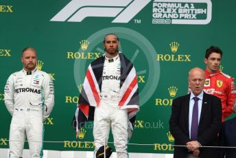 World © Octane Photographic Ltd. Formula 1 – British GP - Race - Podium. Mercedes AMG Petronas Motorsport AMG F1 W10 EQ Power+ - Lewis Hamilton, Valtteri Bottas and Scuderia Ferrari SF90 – Charles Leclerc. Silverstone Circuit, Towcester, Northamptonshire. Sunday 14th July 2019.
