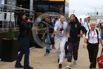 World © Octane Photographic Ltd. Formula 1 – British GP - Paddock. Mercedes AMG Petronas Motorsport AMG F1 W10 EQ Power+ - Lewis Hamilton. Silverstone Circuit, Towcester, Northamptonshire. Sunday 14th July 2019.