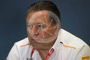 World © Octane Photographic Ltd. Formula 1 - British GP – Friday FIA Team Press Conference. Zak Brown - Executive Director of McLaren Technology Group. Silverstone Circuit, Towcester, Northamptonshire. Friday 12th July 2019.