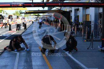 World © Octane Photographic Ltd. Formula 1 – Canadian GP. Practice 3. Aston Martin Red Bull Racing pitbox. Circuit de Gilles Villeneuve, Montreal, Canada. Saturday 8th June 2019.