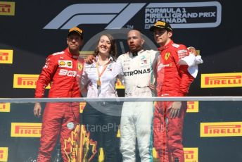World © Octane Photographic Ltd. Formula 1 – Canadian GP. Podium. Mercedes AMG Petronas Motorsport AMG F1 W10 EQ Power+ - Lewis Hamilton and Scuderia Ferrari SF90 – Sebastian Vettel and Charles Leclerc. Circuit de Gilles Villeneuve, Montreal, Canada. Sunday 9th June 2019.