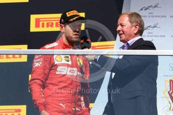 World © Octane Photographic Ltd. Formula 1 – Canadian GP. Podium. Scuderia Ferrari SF90 – Sebastian Vettel with Martin Brundle. Circuit de Gilles Villeneuve, Montreal, Canada. Sunday 9th June 2019.