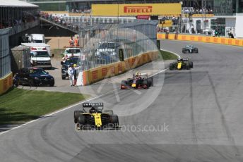 World © Octane Photographic Ltd. Formula 1 – Canadian GP. Race. Renault Sport F1 Team RS19 – Daniel Ricciardo, Aston Martin Red Bull Racing RB15 – Pierre Gasly and Nico Hulkenberg. Circuit de Gilles Villeneuve, Montreal, Canada. Sunday 9th June 2019.