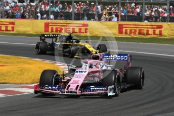 World © Octane Photographic Ltd. Formula 1 – Canadian GP. Race. SportPesa Racing Point RP19 – Lance Stroll and Renault Sport F1 Team RS19 – Daniel Ricciardo. Circuit de Gilles Villeneuve, Montreal, Canada. Sunday 9th June 2019.