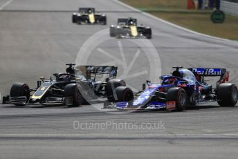 World © Octane Photographic Ltd. Formula 1 – German GP - Qualifying. Rich Energy Haas F1 Team VF19 – Romain Grosjean and Scuderia Toro Rosso STR14 – Daniil Kvyat. Hockenheimring, Hockenheim, Germany. Saturday 27th July 2019.