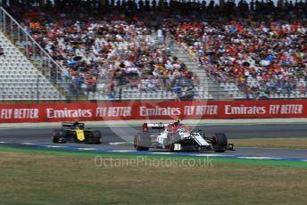 World © Octane Photographic Ltd. Formula 1 – German GP - Qualifying. Alfa Romeo Racing C38 – Antonio Giovinazzi and Renault Sport F1 Team RS19 – Nico Hulkenberg. Hockenheimring, Hockenheim, Germany. Saturday 27th July 2019.
