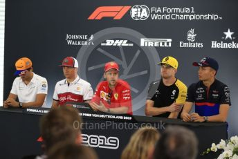 World © Octane Photographic Ltd. Formula 1 – German GP. FIA Drivers Press Conference. Alfa Romeo Racing – Kimi Raikkonen, Scuderia Ferrari - Sebastian Vettel, McLaren – Carlos Sainz, Renault Sport F1 Team – Nico Hulkenberg and Scuderia Toro Rosso – Alexander Albon. Hockenheimring, Hockenheim, Germany. Thursday 25th July 2019.